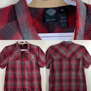 Harley Davidson snap button Shirt Mens Size XL red